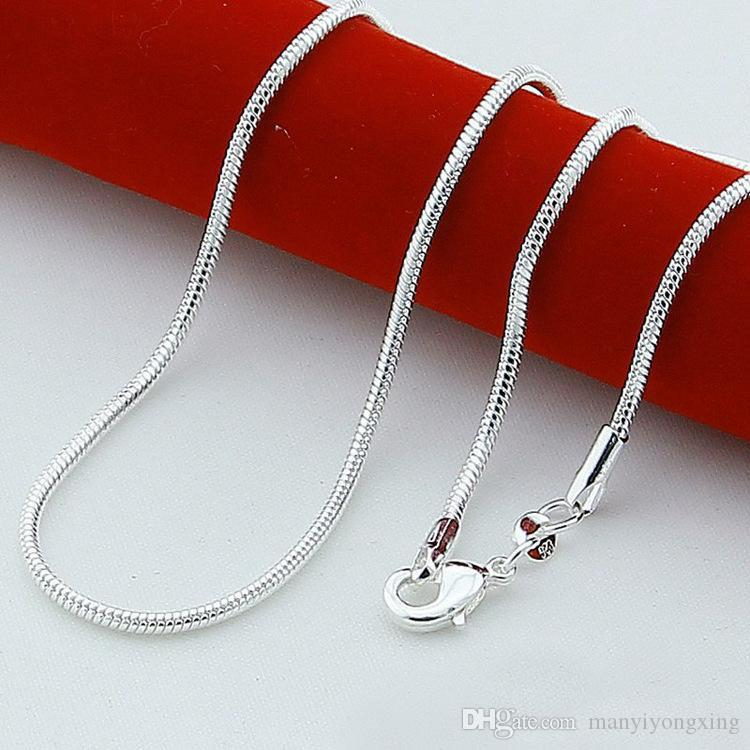 Free Shipping Cool 5pcs 16/18/20/22/24/26/28/30 inch 925 Sterling Silver Snake Link Chain Lobster Clasp Necklace Fit Pendant