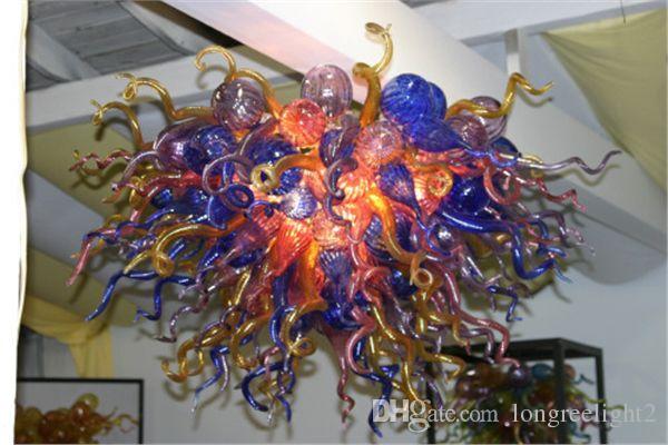 Envío gratis color / tamaño personalizado CE / UL certificado luz brillante mano soplado hermoso vidrio araña artes
