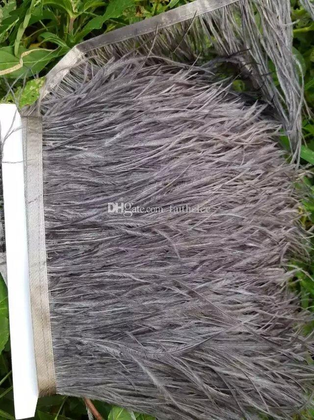 Livraison gratuite 10 mètres gris plume d'autruche frange garniture frange sur Satin Header 5- 6 pouces de largeur pour la fourniture de mariages