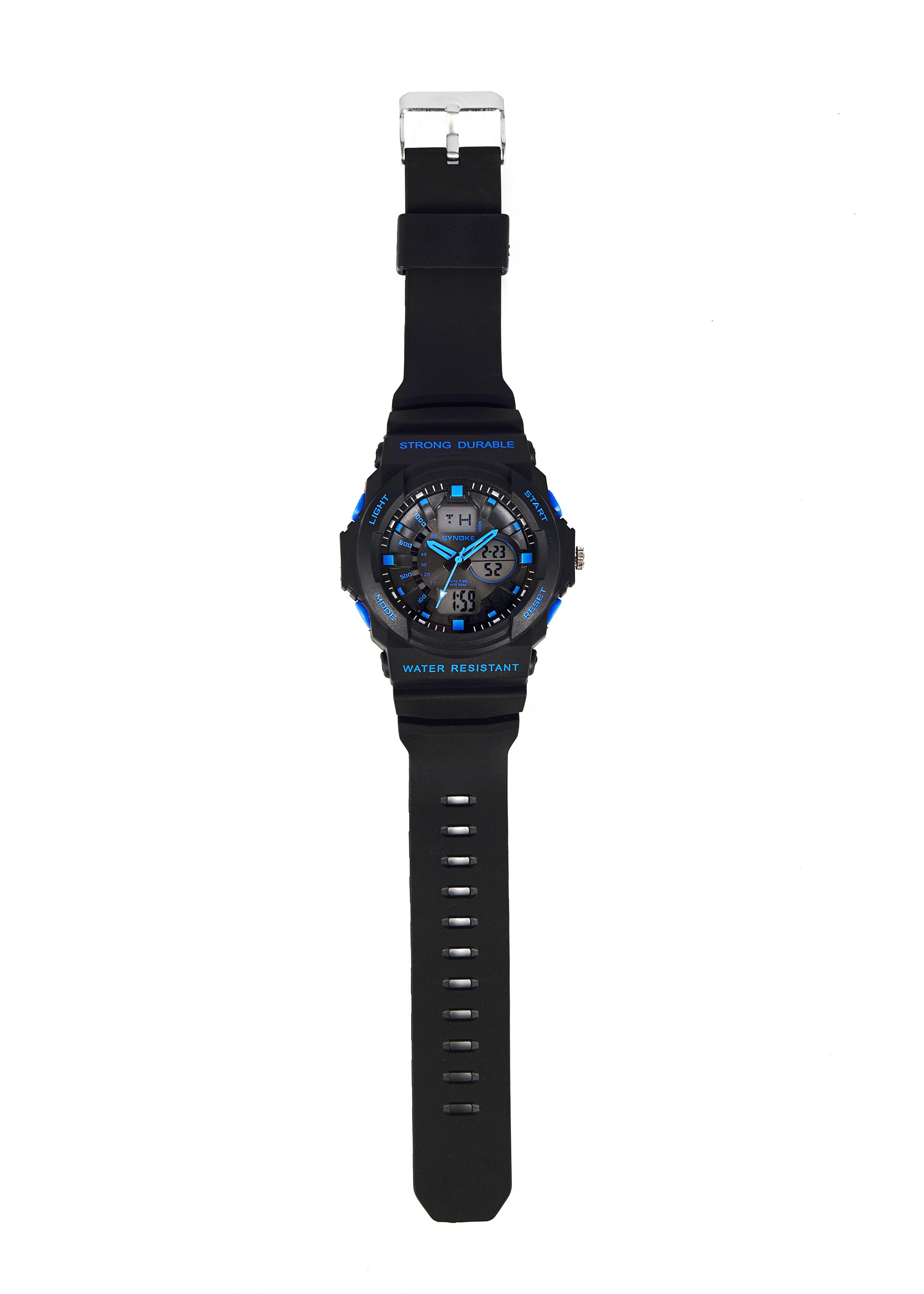 Moda PU Correa de cuero Hombres Relojes impermeables Dial redondo Deporte LED Reloj de cuarzo digital para regalo