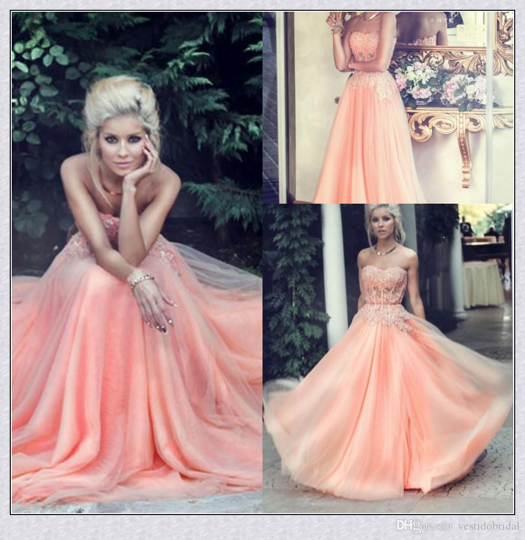 2015 Hot Sales Peach Prom Dresses Beaded Lace Appliques Polyester ...
