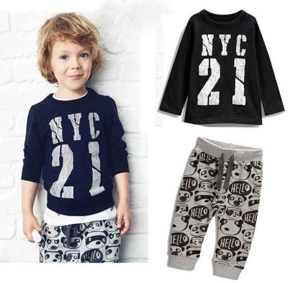 Spring Boys Baby Cartoon Clothing Set Infant Letter Cotton Tops Tee Black T-shirt + Gray Bear Pants Kids Children's Outfits Set 10899
