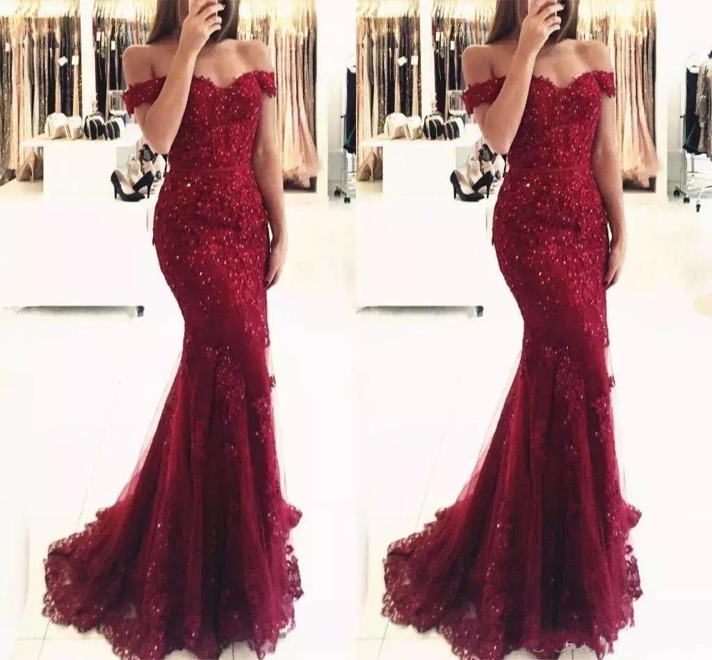 Nueva Borgoña elegante fuera del hombro con cuentas sirena del cordón vestidos de baile de manga corta de longitud de noche formal de los vestidos Vestido de Fiesta