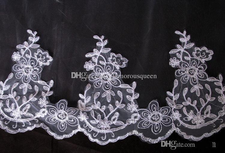 Koronki warstwa 2 welony mają grzebienie welony białe / ślubne z kości słoniowej welony ślubne