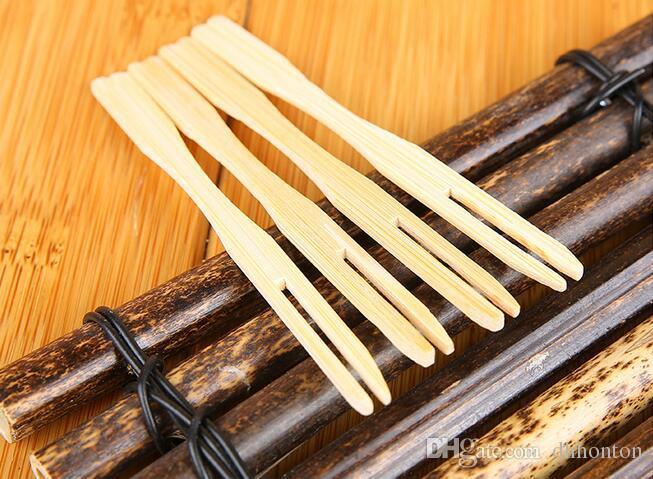 Pur naturel fourchette à fruits créatif deux dents vaisselle portable Haut de gamme boutique en bois fruit spécial fourche livraison gratuite HK33