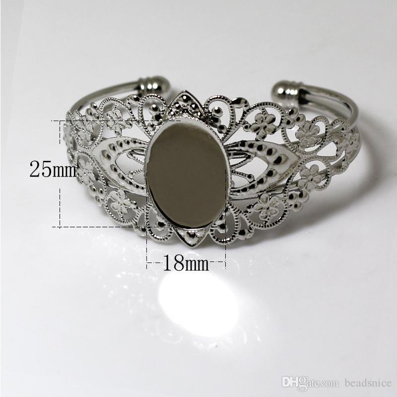 Beadsnice ID24913 Großhandel handgefertigte Armband Messing Armreif mit 18x25mm ovalen Cabochon Tablett Rohlinge in Top-Qualität