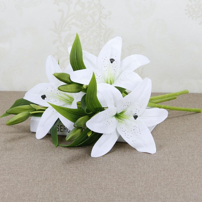 2018 Artificial Silk White Lilies Christmas Decorations For Home Flowers Hotel Wedding Decoration Wreath Of Lily H12 From Home1688 4535