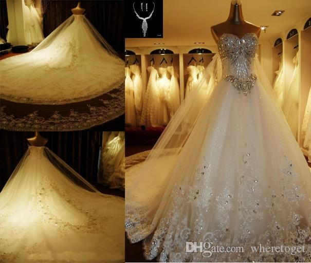 d9ea02e44f Discount Luxury Crystal Rhinestone Wedding Dresses Lace Cathedral Lace Up  Back Bridal Gowns 2016 A Line Sweetheart Appliques Beaded Garden Free Sets  Lace ...