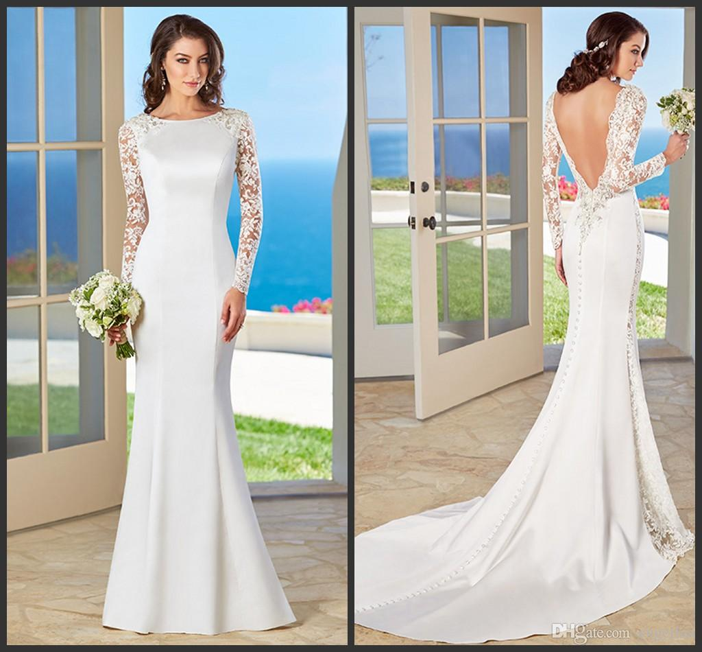 Slim mermaid white satin wedding dresses lace long sleeves sexy slim mermaid white satin wedding dresses lace long sleeves sexy backless chapel train covered buttons bridal gowns ha 2016 kitty chen bailey wedding dresses ombrellifo Image collections