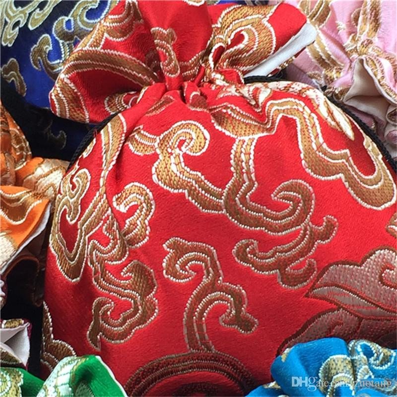 Classic floreale grande gioielli regalo sacchetti di stoffa Art Art Cinese in seta coulisse in seta Imballaggio perline collana Braccialetto Braccialetto