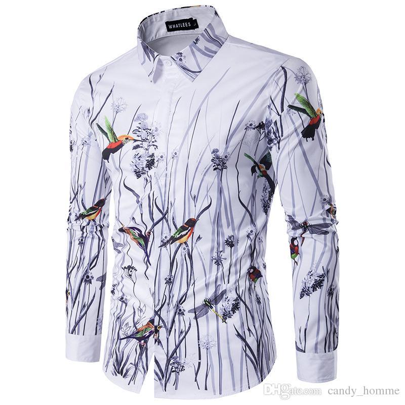5d686643f51a7 2019 New Fashion Men Shirt Long Sleeve 3d Splash Ink Print Floral And Birds  Mens Shirts Casual Dress Man Social Shirt Camiseta Masculina Plus 3XL From  ...