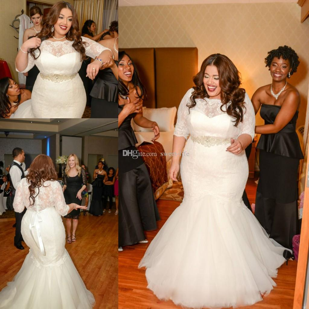 2016 Vintage Plus Size Mermaid Wedding Dresses With Half Sleeve - Plus Size Fall Wedding Dresses