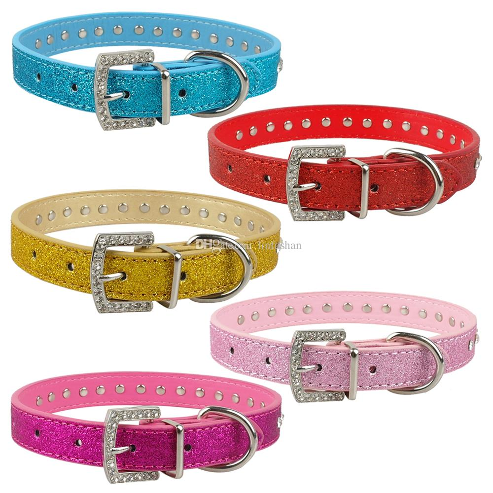 Pink Color 1 Row Rhinestone Dog Collar Diamante Pet Collars Pu Leather XS S M Pet Products