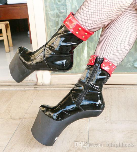 6ff33be3ce7e 20cm High Height Sex boots PU Platform Hoof Heels Ankle Boots US size 6-14  No.WG03