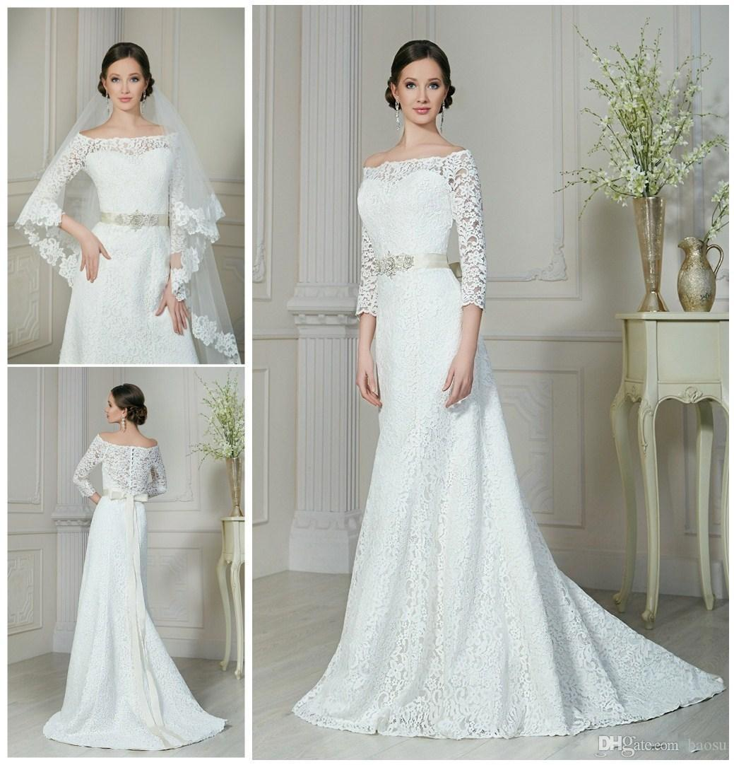 2016 Elegant A Line Wedding Dresses Off Shoulder 3/4 Long Sleeves ...