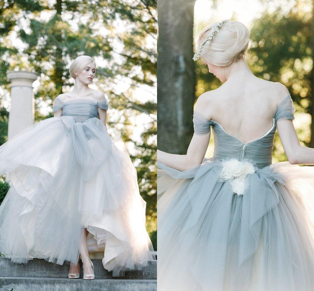 Compre Perfect Dove Gris Del Hombro Tulle Princesa Ball Gowns ...
