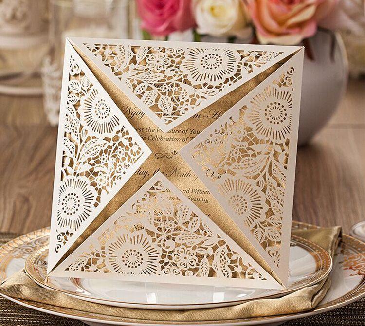 Laser Cut Wedding Invitations Gold Blank Inner Sheet