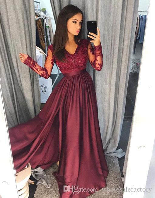2018 Sexy BurgundyV Neck Lace Sheer Long Sleeves Prom Dresses Satin A Line Floor Length Evening Gowns Formal Party Dresses Vestidos de festa