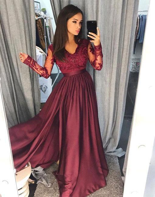 Sexy Borgogna scollo a V in pizzo trasparente maniche lunghe Prom Dresses raso Una linea Floor abiti da sera di lunghezza convenzionale partito dei vestiti Vestidos de Festa