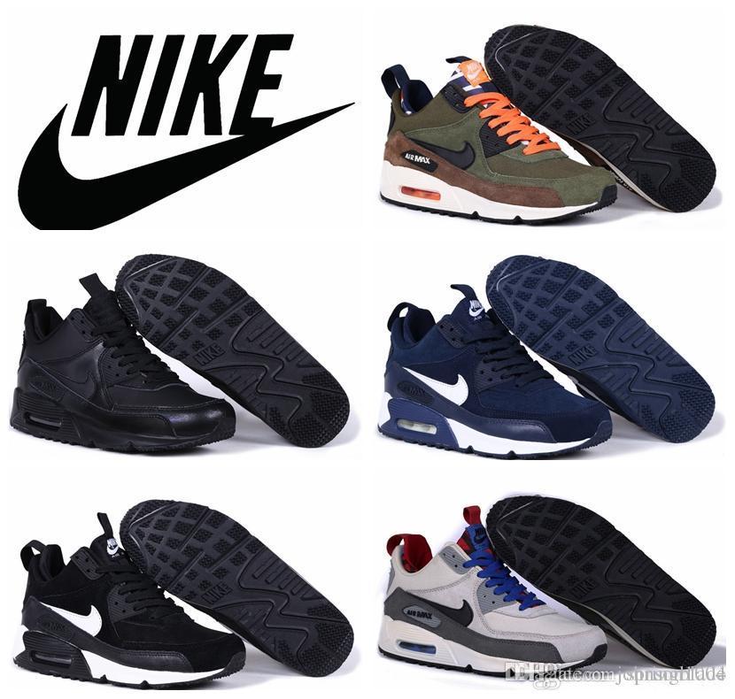 nike air max 90 sneakerboot cuoio uomini scarpe da corsa 2015 tutti neri