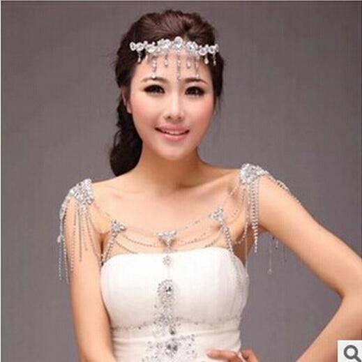 2015 Mizaç Omuz Zincir Rhinestone Kristaller Düğün Gelin Takı Seti Elbiseler Boncuk Gelin Aksesuarları TS000114