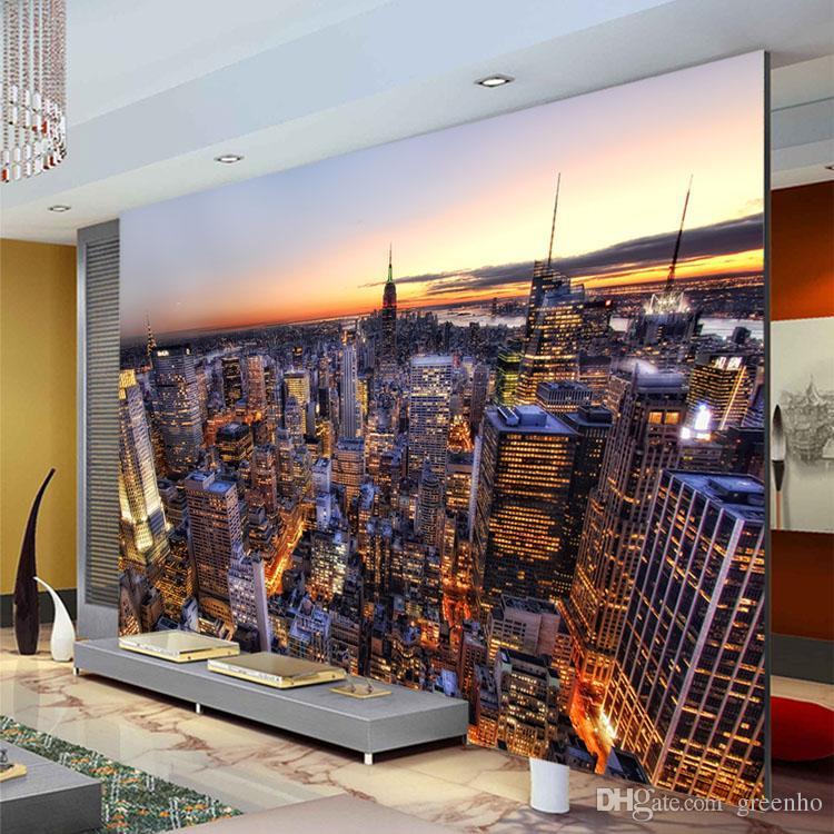 Manhattan City Night Wallpaper Modern Photo Wallpaper