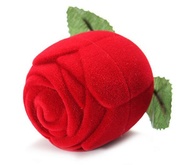 Nouveauté Rose Rouge Boîte De Bague Pour Le Mariage De Fiançailles Boucles D'oreilles Pendentifs Cas De Bijoux