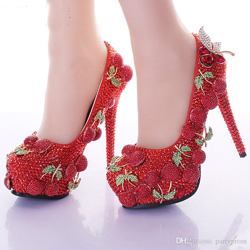 Wedding Prom Party Shoes Red Rhinestone Cherry Design Ladies Customized Zapatos de tacón alto Nupcial Shining Banquet Dress Shoes