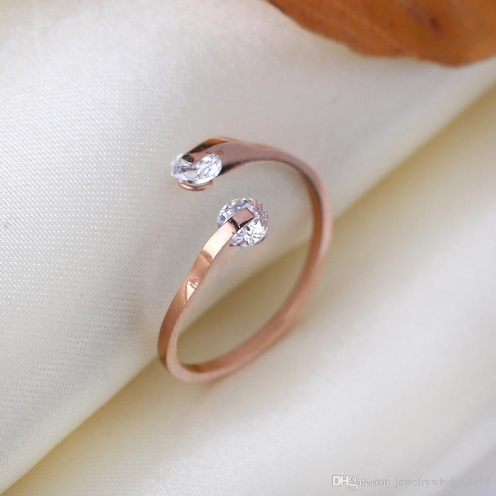 double crystal adjustable ring jewelry men and women personality