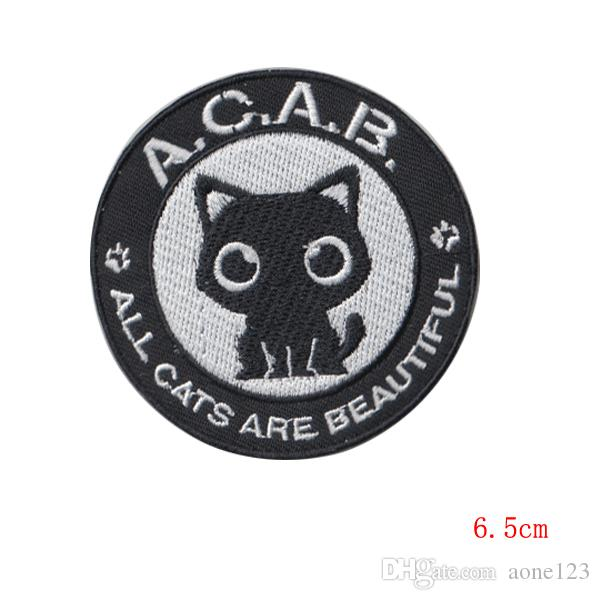 black cat embroidered Iron On cartoon Patches garment Appliques accessory made in china diameter
