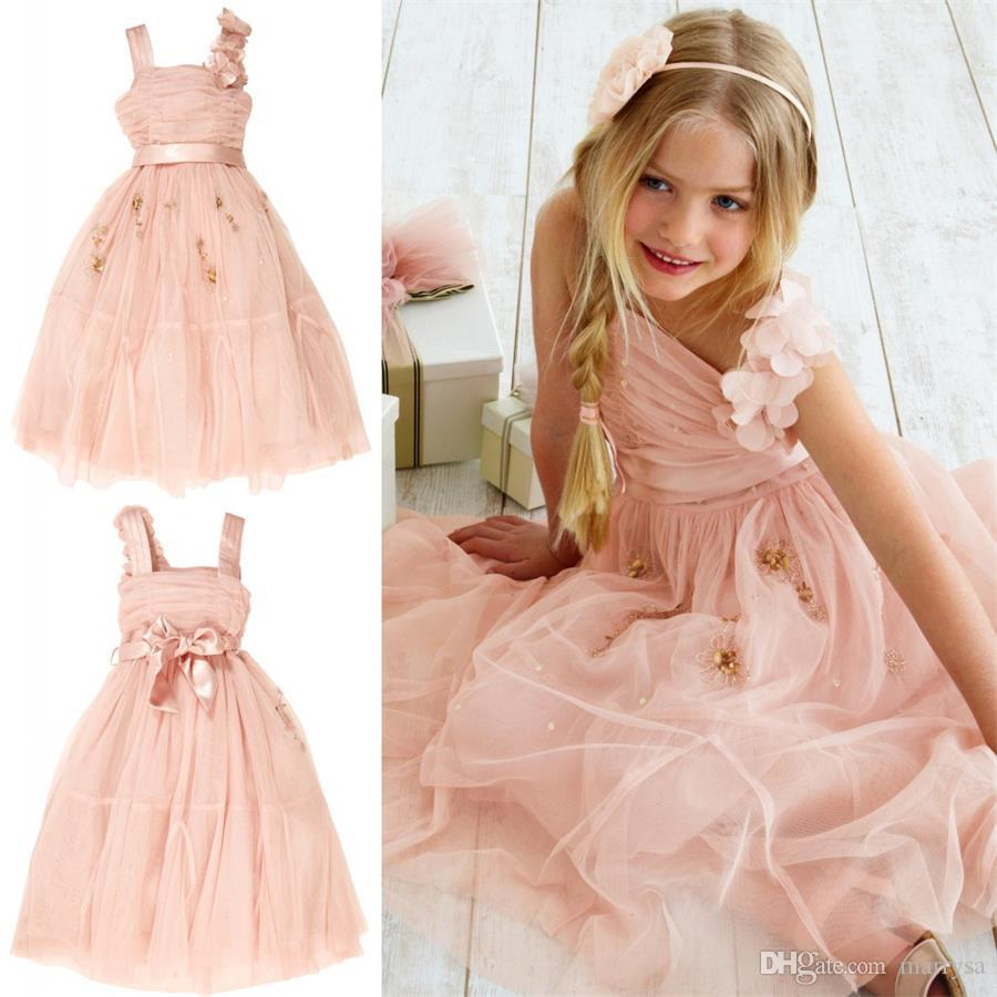 Beauty Light Pink Tulle Flower Girl Dresses Wedding Gowns Beaded Sequins Tea Length Bow Sash Little Girls Pageant Dress 2015 Cheap Bridal