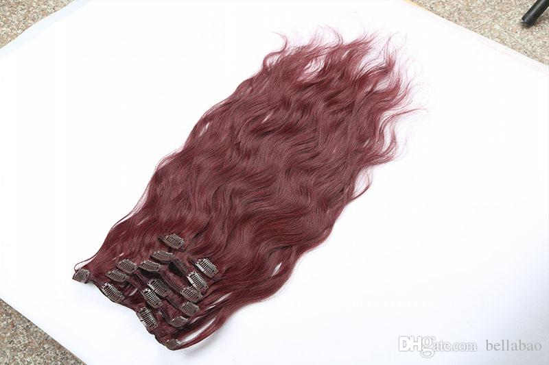 120g Clip In Body Wave Hair Extensions Full Head Set Malaysian Remy