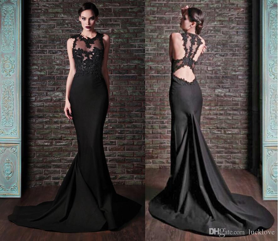 Zuhair Murad Mermaid Sexy Black Satin Wedding Dresses Jewel