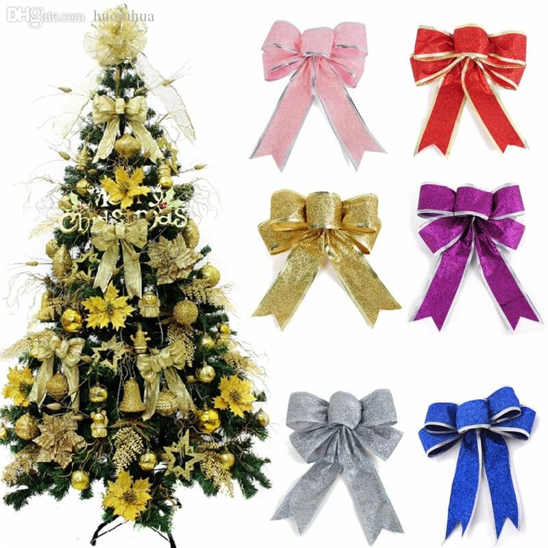 wholesale 2016 merry christmas theme bow shape flannel christmas tree decoration xmas tree hanging ornaments festival decorations discount christmas outdoor - Discount Christmas Trees