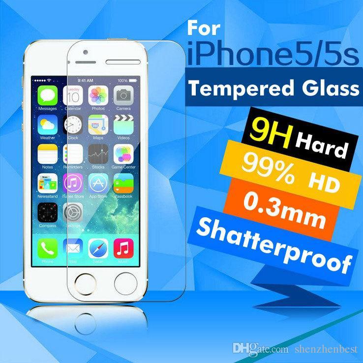 100 قطعة / الوحدة أعلى جودة رقيقة جدا 0.3 ملليمتر 9 h الجبهة الزجاج المقسى حامي الشاشة لفون 5 5 جرام 5 ثانية مكافحة تتحطم فيلم فريشيبينغ