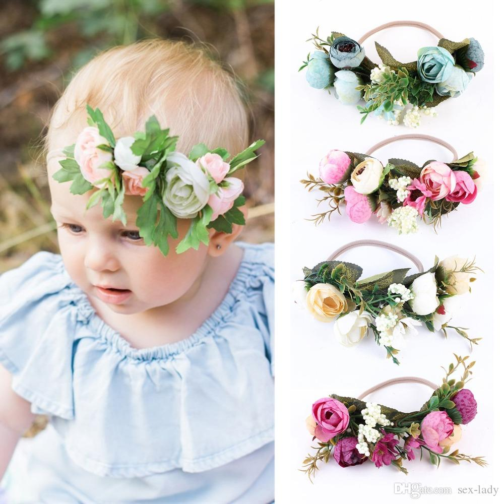 Baby rose flower crown headband girl wedding party festival beach baby rose flower crown headband girl wedding party festival beach garlands hairband weath forehead halo newborn hair accessories tieback jeweled hair izmirmasajfo