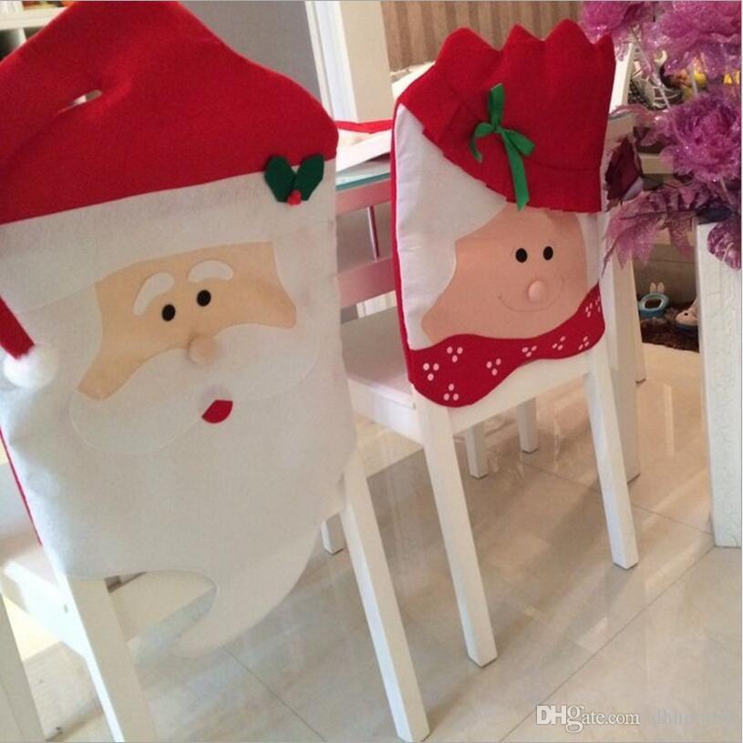 Noel Baba Sandalye Kapakları Noel Çift Bez Yemek Masası Süslemeleri Noel Dekorasyon Malzemeleri noel ev chria dekorasyon CT01
