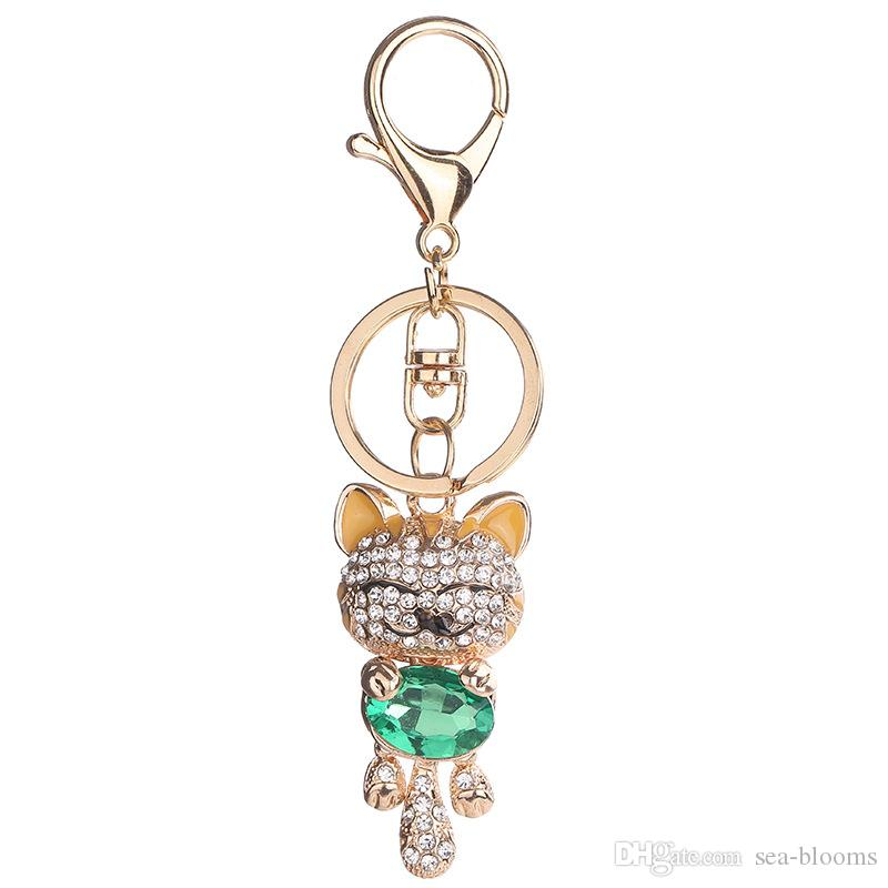 7 Arten Lucky Smile Cat Keychain Kristall Schlüsselanhänger Geldbörse Edelstein Kätzchen Anhänger Tasche Auto Schlüsselanhänger Modeschmuck Schlüsselanhänger D298S