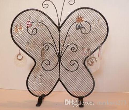 Schmiedeeisen Schmetterling Mesh Ohrring Zubehör Stud Display Stand Regal Schmuck Halter Lagerregal Geschenk Handwerk