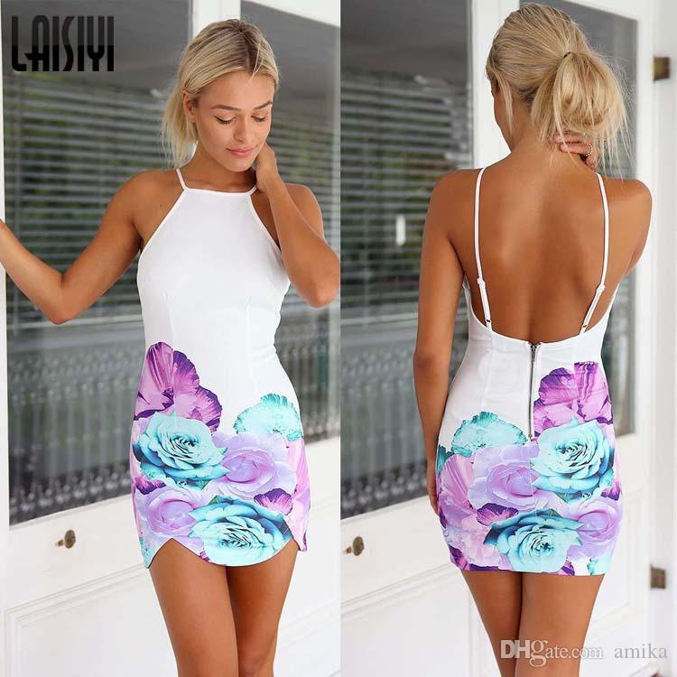 New Arrival Women Summer Dress 2017 Sexy Backless Print White ...
