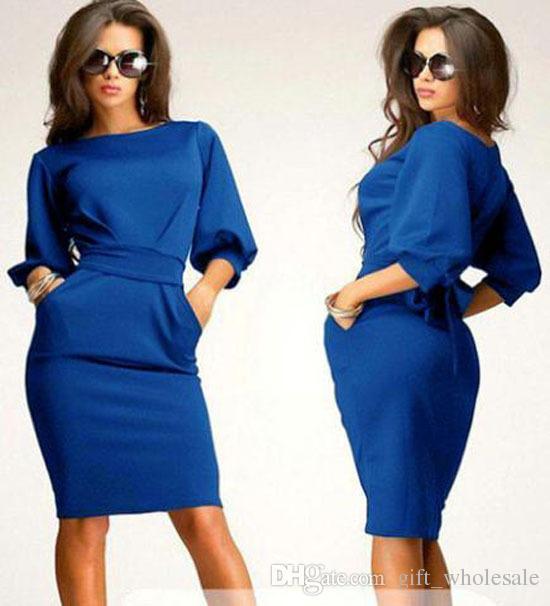 Robes Casual pour grandes filles Dress 2015 Printemps Eté Dame solide Slim Fit demi manches à manches bouffantes Habillé Femmes Vêtements Khaki Bleu Marine