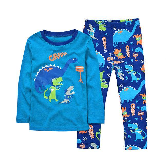 Chrildren Pyjamas Longe Sleeve Cartoon Kleidung Dinosaurier Set Herbst Winter 2 Stücke Nachtwäsche Startseite Kleidung für