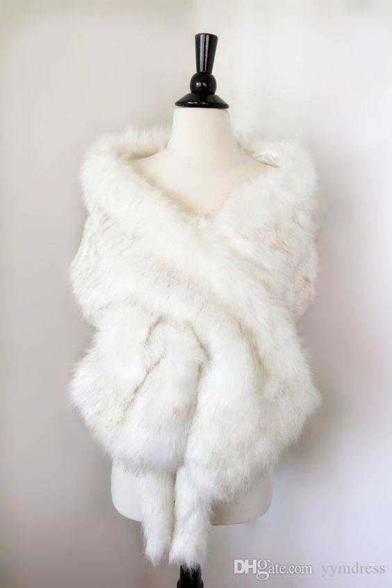 Luxurious Bridal Shawl Fur Wraps Marriage Shrug Coat Bride Winter Wedding Party Evening Prom Boleros Jacket Cloak White Khaki