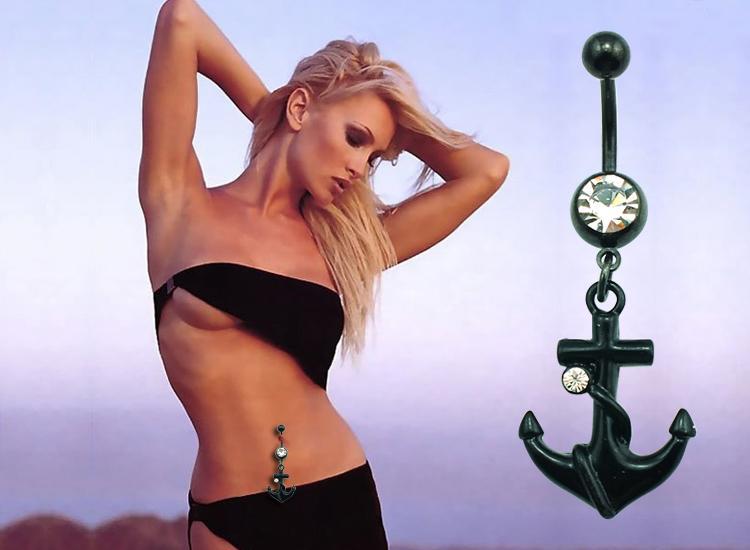 Wysoka ilość Moda Brzuch Pierścionki Ze Stali Nierdzewnej Dangle Black Anchor Pępek Body Piercing Biżuteria DQK0800