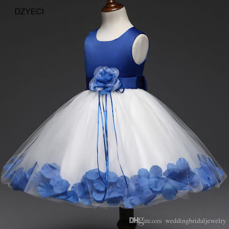 Christmas Costume For Teenager Girl Flower Wedding Dresses New Children Bow Lace Princess Ball Gown Dress Kid Petal Tassel Frock