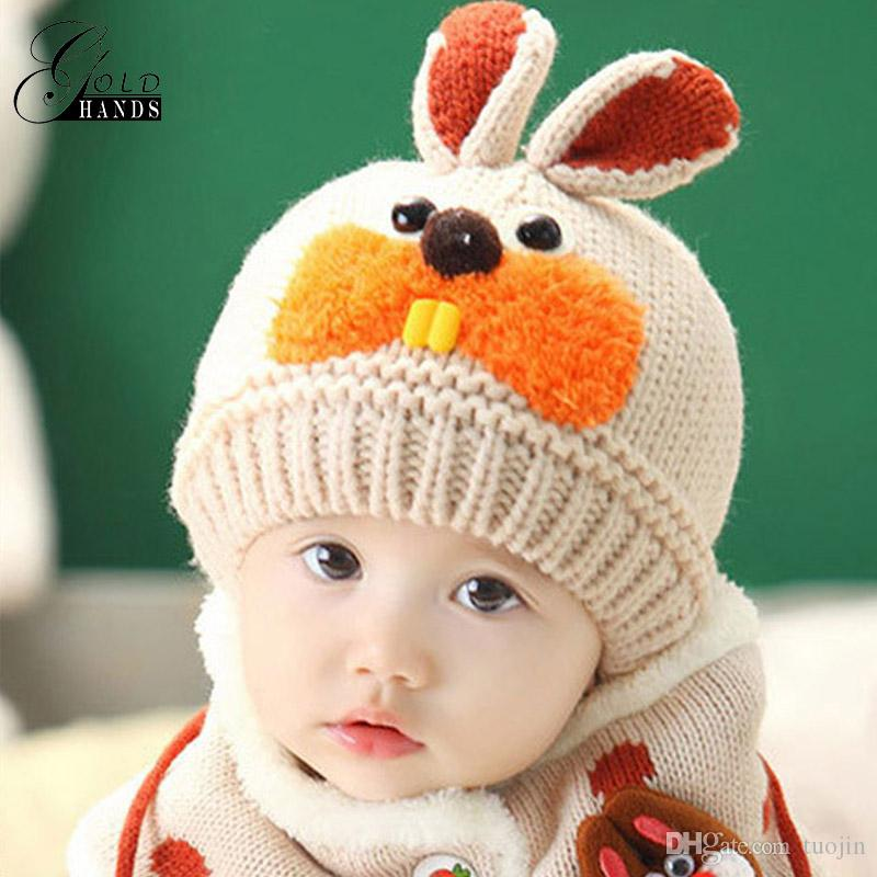 55d30aacea1 2019   Set Hat And Scarf Set Baby Winter Cap Rabbit Knit Warm Hats For  Children Neck Warmer Props Baby Kids Hats From Tuojin