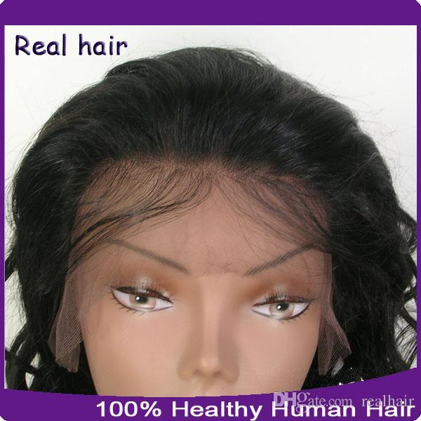 100% non transformés Cheveux humains Perruques pleines de dentelle / dentelle perruques avant avec des cheveux bébé 8A vague lâche perruque humaine brésilienne pour femmes noires
