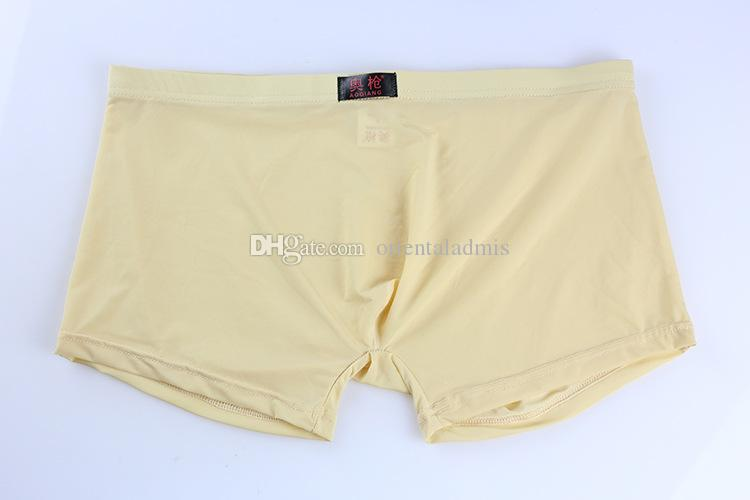 #49 Wholesale Men's sexy underwear extra-thin ice silky translucent boxer shorts underpants panties cuecas