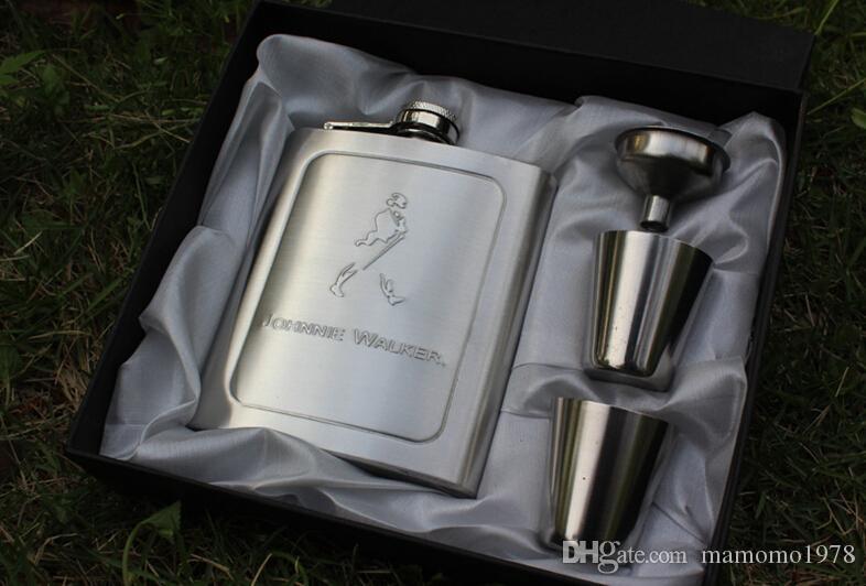 Z1102 s / aço portátil JD conjunto hip balão, garrafa 7 onças whisky, jarra, panela de vinho com copo e um funil Copos