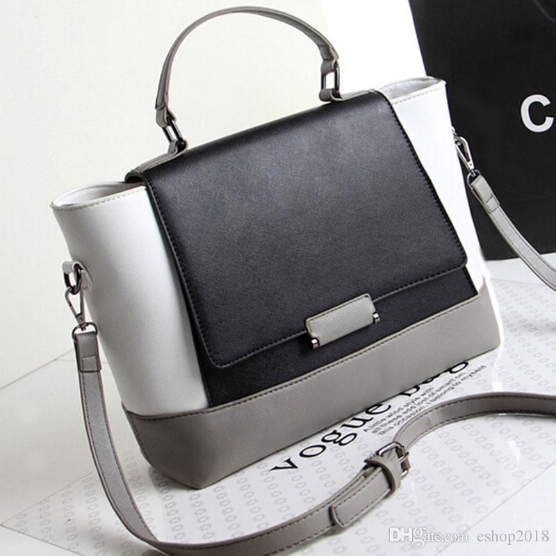 Women Messenger Bags Black And White Patchwork Designer Leather ...